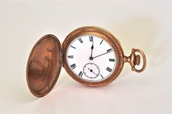 Antieke Rose Gold Pocket Watch Roman-Cijfers Royalty-vrije Stock Fotografie