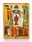 Antieke Russische orthodoxe pictograminterventie van de Theotokos-pijn Royalty-vrije Stock Foto's