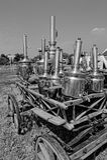 Antieke samovars op wain royalty-vrije stock foto