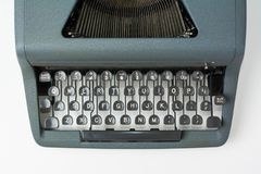 Antieke Schrijfmachine op Witte Dichte Omhooggaand Als achtergrond op Sleutels royalty-vrije stock foto