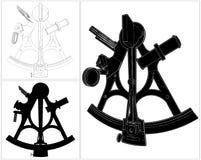 Antieke Sextant Geïsoleerde Illustratievector vector illustratie