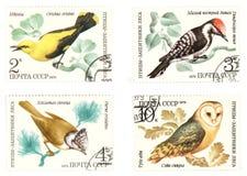 Antieke Sovjetpostzegels met vogels Stock Afbeelding