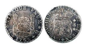 Antieke Spaanse Zilveren Dollar stock afbeeldingen
