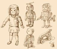 Antieke speelgoedinzameling vector illustratie