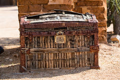 Antieke stagecoach geldborst Stock Foto's