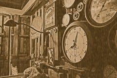 Antieke uitstekende klok stock afbeelding