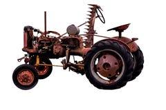 Antieke uitstekende oude roestige tractor met instrument Stock Afbeeldingen