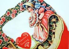 Antieke valentijnskaart Stock Foto