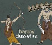 Antieke Voorraadillustratie van gelukkige Dussehra ` de groetkaart van ` Stock Afbeeldingen