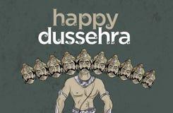 Antieke Voorraadillustratie van gelukkige Dussehra ` de groetkaart van ` Royalty-vrije Stock Foto's