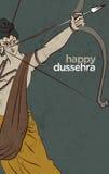 Antieke Voorraadillustratie van gelukkige Dussehra ` de groetkaart van ` Stock Fotografie