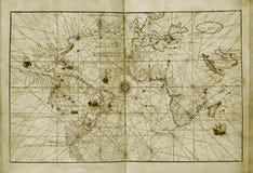 Antieke wereldkaart Royalty-vrije Stock Afbeeldingen
