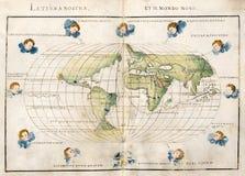 Antieke wereldkaart stock illustratie