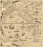 Antieke Wereldkaart, Noord-Amerika, Zuid-Amerika, China Jaar 1520 vector illustratie