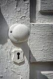 Antieke Witte Deurknop Stock Afbeelding