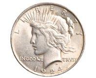 Antieke zilveren geïsoleerde dollar Stock Afbeelding