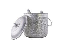 Antieke zilveren geïsoleerde pot Stock Afbeelding