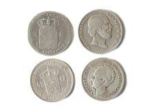 Antieke zilveren Nederlandse muntstukken van 1847 en 1928 Stock Foto