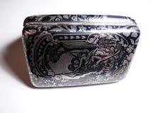 Antieke zilveren niello van het sigaretgeval Royalty-vrije Stock Afbeeldingen