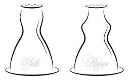 Antieke zout en peper Royalty-vrije Stock Afbeelding