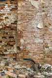 Antient cracked brick wall background vertical Royalty Free Stock Images