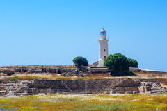 Antient greek amphitheater and lighthouse Royalty Free Stock Images