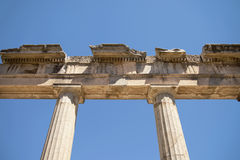 Antient. Greek buuilding against blue sky Royalty Free Stock Photography