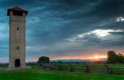 Antietam pola bitwy obserwaci wierza Krajowy wschód słońca Fotografia Stock