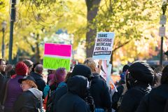 Antifa protest w w centrum Portland, Oregon fotografia stock