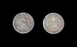 Antigüedad Liberty Seated Half Dime 1853 imágenes de archivo libres de regalías