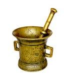 Antigüedades mortero y maja de bronce imagenes de archivo