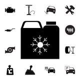 antigel Silhouette boîte graphisme Ensemble d'icônes de réparation de voiture Signes, collection d'eco d'ensemble, icônes simples illustration libre de droits