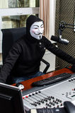 Antiglobalist on the radio Stock Image
