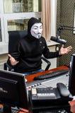 Antiglobalist on the radio Royalty Free Stock Image
