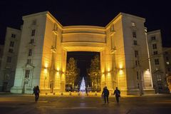 Antigone district at nigth with Christmas tree, Montpellier, France royalty free stock photo