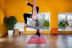 Antigravity hammock yoga Royalty Free Stock Photos