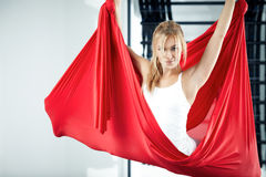 Antigravity yoga Royalty Free Stock Images