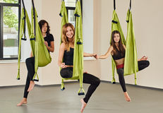 Antigravity yoga group of women Royalty Free Stock Photography