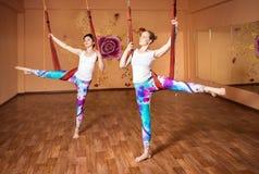 Antigravity yoga at hammock Royalty Free Stock Image