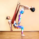 Antigravity yoga at hammock Royalty Free Stock Photo