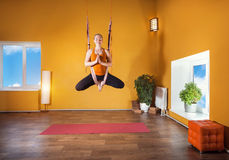 Antigravity yoga in hammock Royalty Free Stock Photography