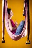 Antigravity yoga in hammock Stock Photo