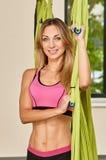Antigravity yoga trainer Royalty Free Stock Photography