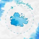 Antigua akwareli wyspy mapa w turkusowych kolorach Obraz Royalty Free