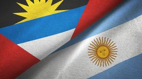 Antigua and Barbuda and Argentina two flags textile cloth, fabric texture. Antigua and Barbuda and Argentina flags together textile cloth, fabric texture royalty free illustration