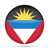 antigua Barbuda flagę Błyszczący round guzik Zdjęcie Royalty Free