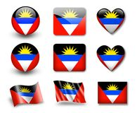 The Antigua and Barbuda flag. Set of icons and flags. glossy and matte on a white background Royalty Free Stock Photos