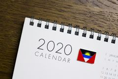 Antigua and Barbuda Flag on 2020 Calendar royalty free stock photo