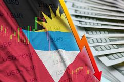 Antigua and Barbuda flag and chart falling US dollar position with a fan of dollar bills royalty free illustration