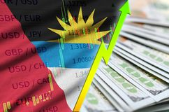 Antigua and Barbuda flag and chart growing US dollar position with a fan of dollar bills stock illustration